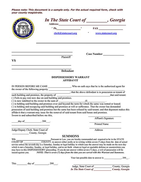 Virginia Search Warrant Form Sle Dispossessory Warrant Affidavit Ez