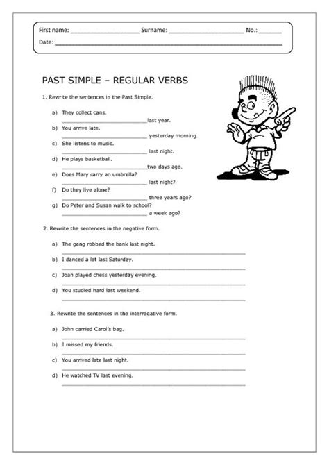 past simple regular verbs worksheet alc