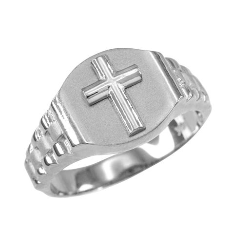 925 sterling silver mens cross ring ebay