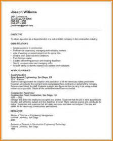 Construction Superintendent Resume Sles by Resume Exles For Building Superintendent Resume