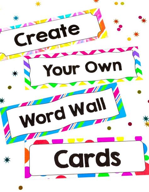 vocabulary word wall template create your own word wall cards editable fonts the o