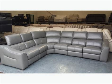 Sofas Leeds by Ex Display Elixir Elephant Grey Leather Electric Recliner