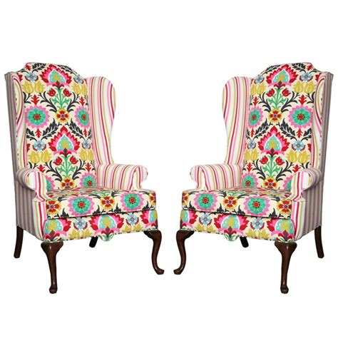 slipcover for queen anne chair pair of american drexel queen anne wingback chairs c 1960