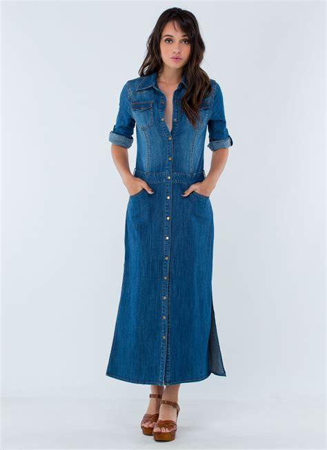 Denima Maxy Dress blue denim maxi dress dresscab