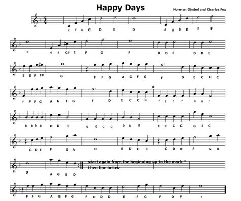 happy days sigla testo musica e spartiti gratis per flauto dolce happy days