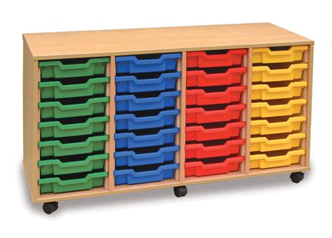 monarch mobile school shallow tray storage unit 28