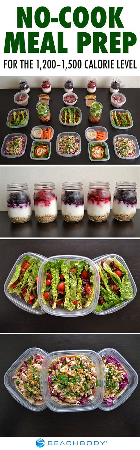 no cook meal prep for the 1 200 1 500 calorie level the