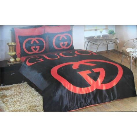 gucci satin bedding set new hq black red classic king
