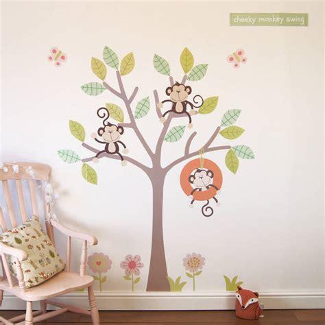 three cheeky monkeys swinging in a tree cheeky monkey swing tree wall stickers by parkins