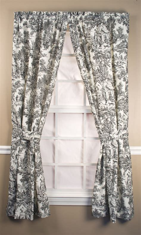 toile drapes curtains victoria park toile tailored curtain panel pairs with ties