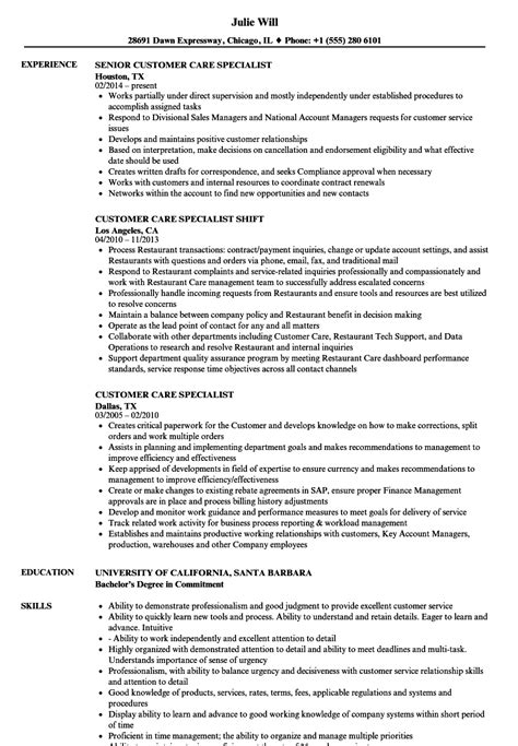 customer care specialist resume sles velvet
