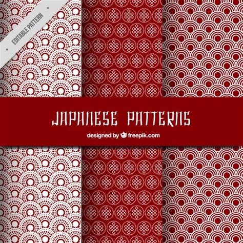 japanese pattern vector download red japanese patterns set vector free download
