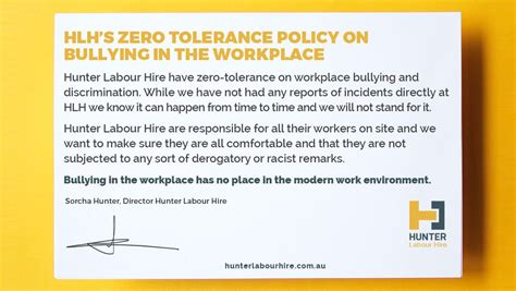The Hlh Policy On Bullying In The Workplace Hunter Labour Hire Zero Tolerance Policy In The Workplace Template