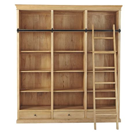 mango wood bookcase with ladder w 190cm naturaliste