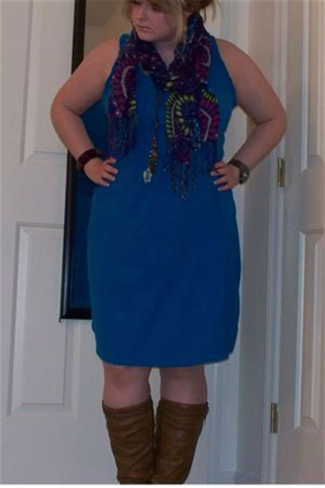 blue dresses brown boots purple navy scarves