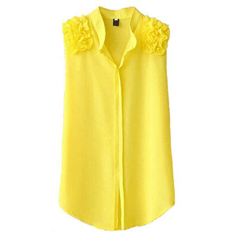 Yell O Blouse blouses blusas chiffon sleeveless blouse black top yellow white roupas xxxl xxxxl 5xl plus