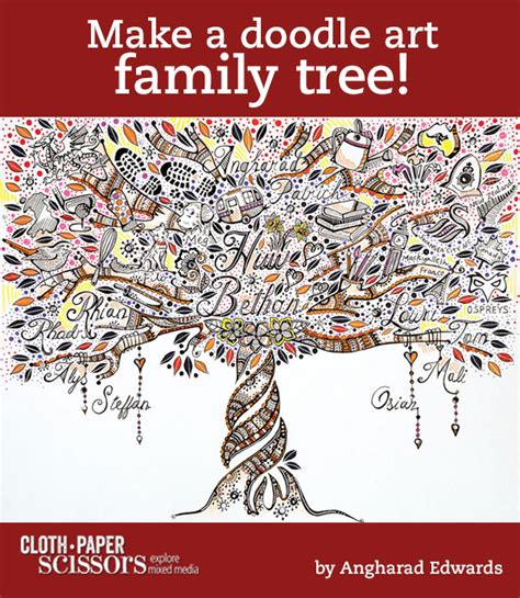 doodle draw journal kristy conlin family tree doodle cloth paper scissors family