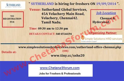 Logistics In Chennai For Mba Freshers by Freshers Experienced Sutherland Global Services