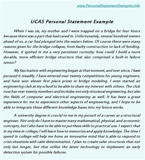 excellent ucas personal statement exles personal statement sle