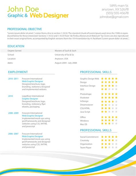 Colorful Resume Templates 301 moved permanently