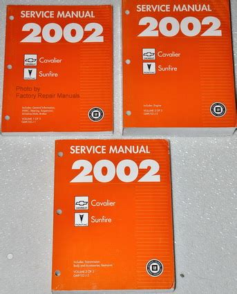 service manuals schematics 2002 pontiac sunfire auto manual 2002 chevrolet cavalier pontiac sunfire factory shop service manual set factory repair manuals