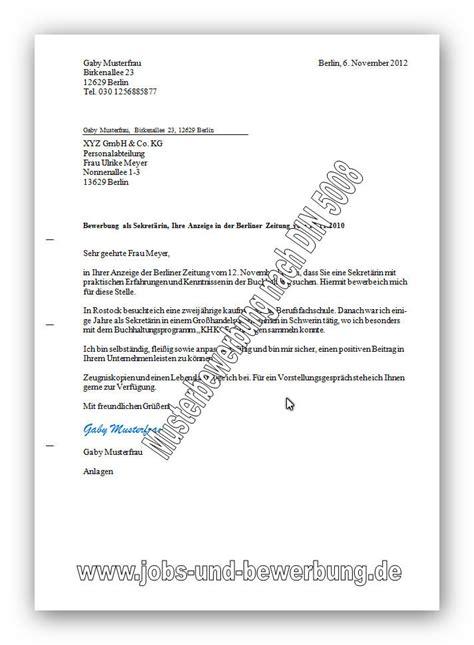 Anschreiben Bewerbung Din 5008 Muster Anschreiben In Der Bewerbung Kostenlose Vorlagen