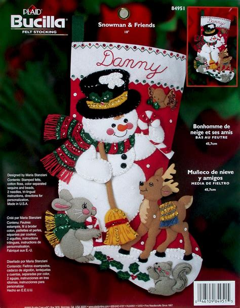 Decorating Program snowman amp friends 18 quot bucilla felt christmas stocking kit