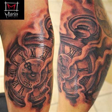 tattoo old school clock art of muecke tattoos new school muecke timepiece