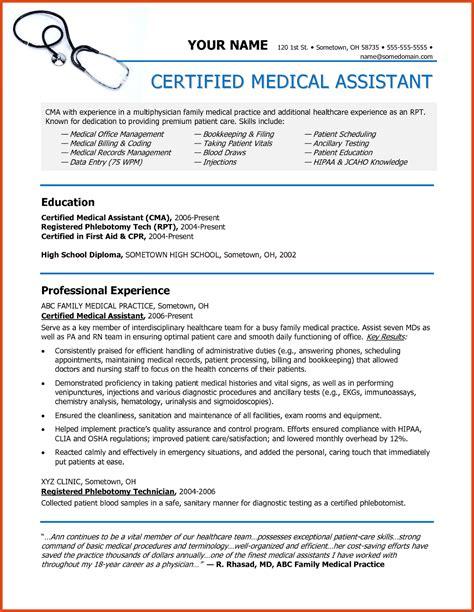 medical assistant resumes moa format
