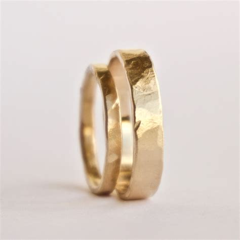 gold marriage rings wedding ring set two hammered gold rings rustic textured