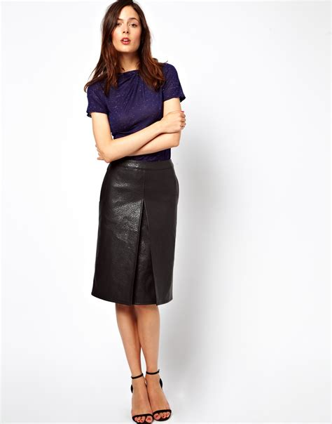 asos a line skirt in leather look in white lyst