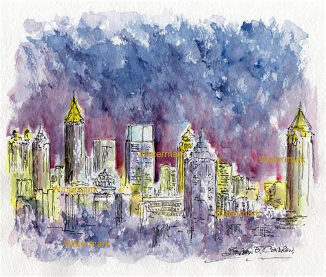 paint nite atlanta atlanta skyline watercolor painting of downtown at