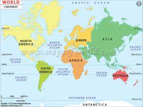 continents of the world map of continents