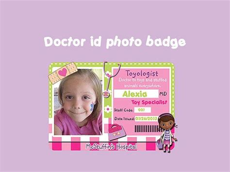 doctor id card template doc mcstuffins doctor photo badge id birthday custom