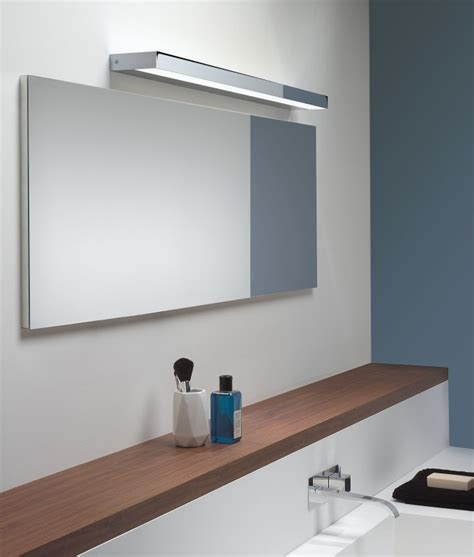 lightweight bathroom mirror rectangular over mirror light in matt nickel or polished