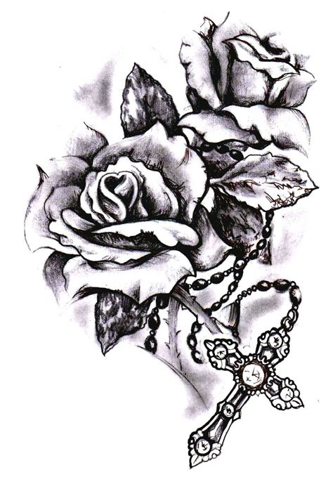 rose with rosary tattoo designs image result for and rosary tattoos and