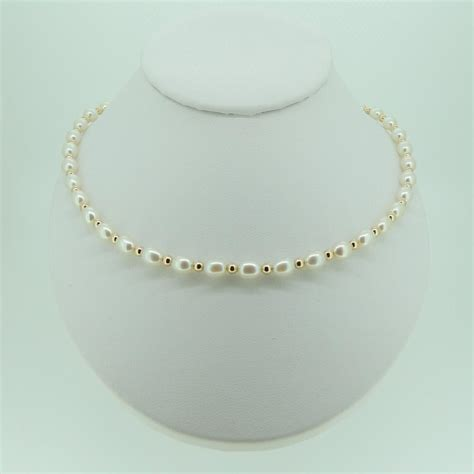 white bead necklace uk white rice pearl and gold bead set mhpearljewellery co uk