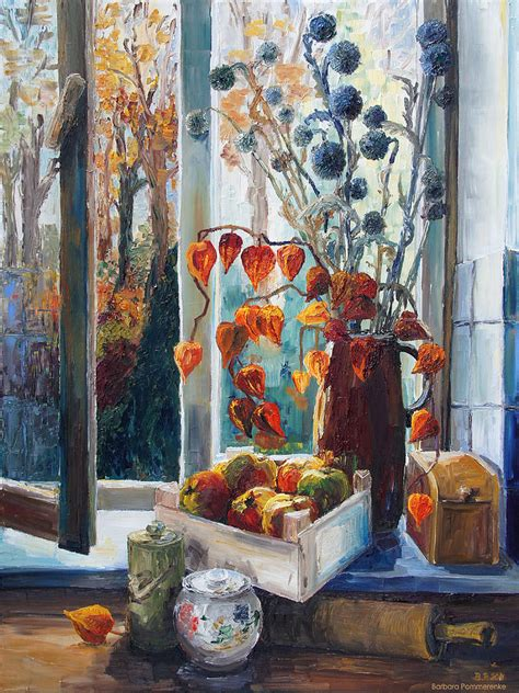 Country Kitchen Painting Ideas autumn at the kitchen window painting by barbara pommerenke
