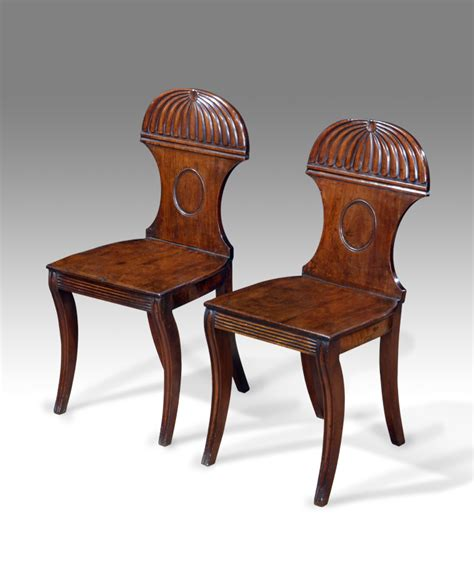 Pair Of Antique Hall Chairs Regency Chairs Carved Wooden Dining Room Mirrors Antique