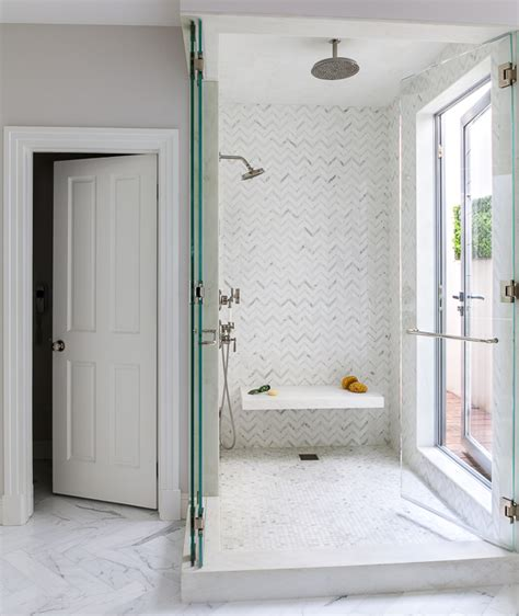 Shower Doors For Walk In Showers Walk In Shower With Glass Doors On Rail Transitional