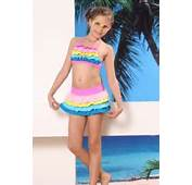 Multicolor Child Swimsuit Ruffled Bikini Top And Panty Mini Skirt