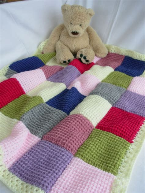 Knitting Pattern For Patchwork Blanket - handmade knitted patchwork baby blanket pink lilac