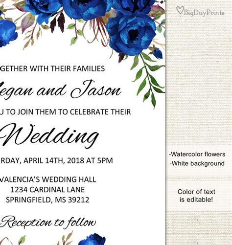 blue wedding invitation template royal blue wedding etsy