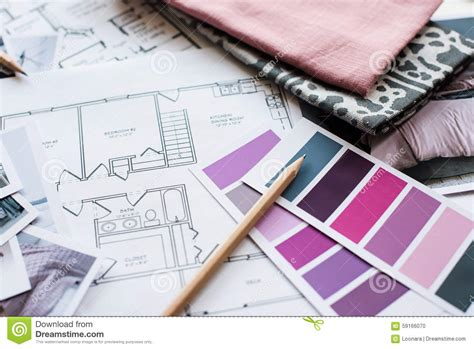 interior design fabric interior designers working table stock photo image 59166070