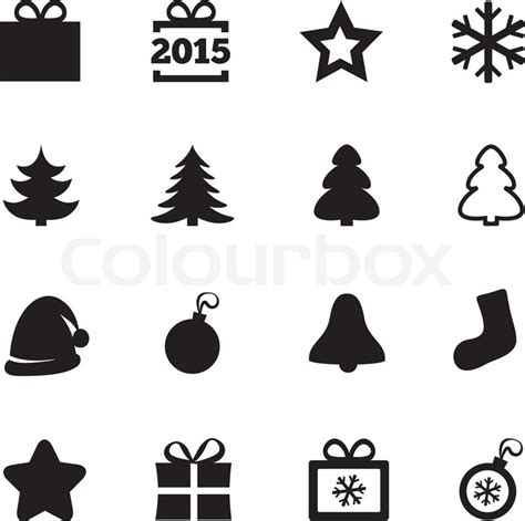 christmas tree text symbol icons new year 2015 icons vector black icons set gift box