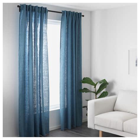 ikea aina pair of curtains linen drapes 2 panels 98 light aina curtains 1 pair blue 145x250 cm ikea