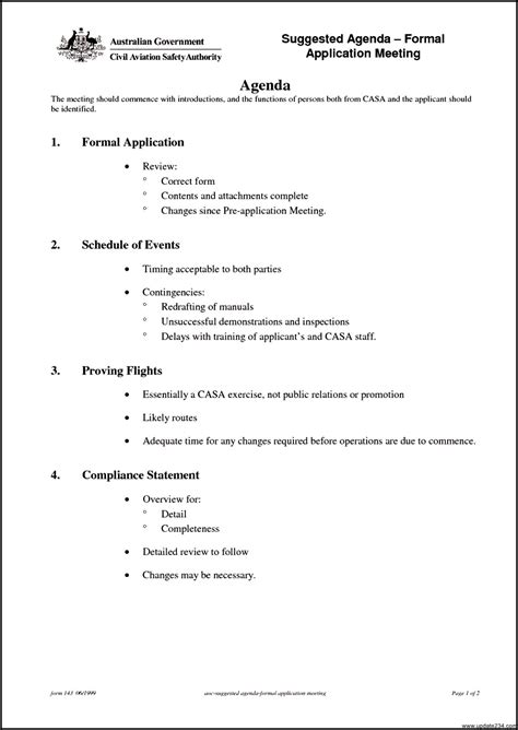 agenda of meeting format template for project proposal