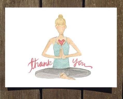 printable yoga greeting cards thank you yogi card 8 pack of watercolor thank you cards