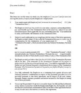 termination contract template employment termination agreement sles and templates