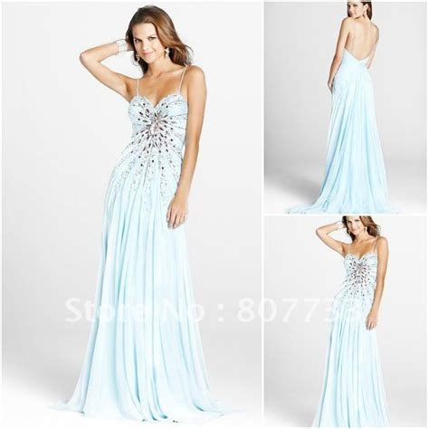 light blue spaghetti prom dress beaded spaghetti light blue prom dress gorgeous